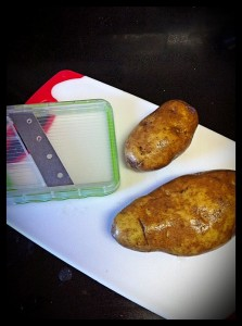 I sliced my potatoes - but I'd recommend chunks if you do this at home.